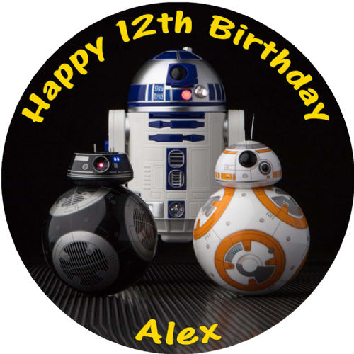 STAR WARS LAST JEDI BB8 R2D2 BB9E PERSONALISED ROUND EDIBLE BIRTHDAY CAKE TOPPER
